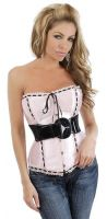 Pink Satin & Ribbon Belted Corset